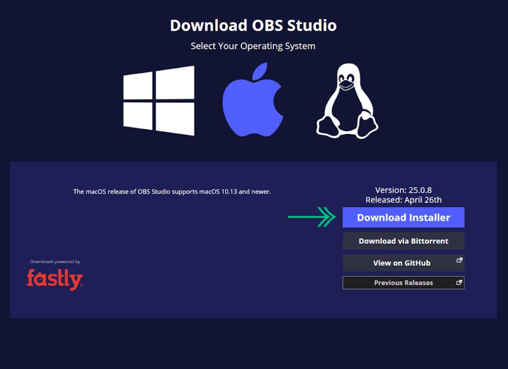 Download OBS Studio Installer on MacOS