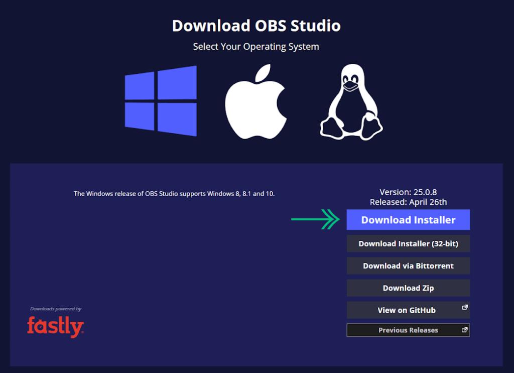 Download OBS Studio Installer on Windows