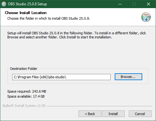Choose Where To Install OBS Studio