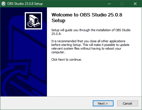 OBS Studio Setup Installation Starting Screen