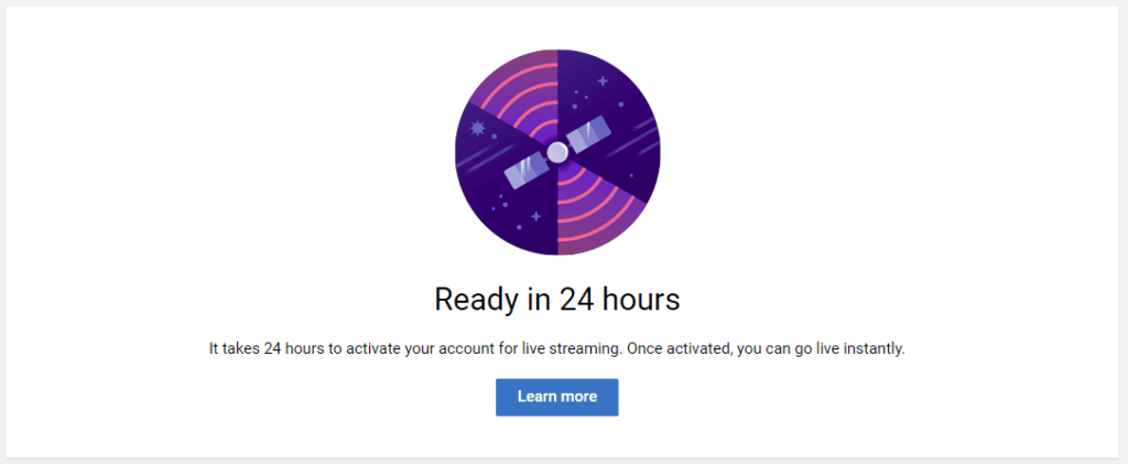 24 Hours To Activate Live Streaming For A New YouTube Channel