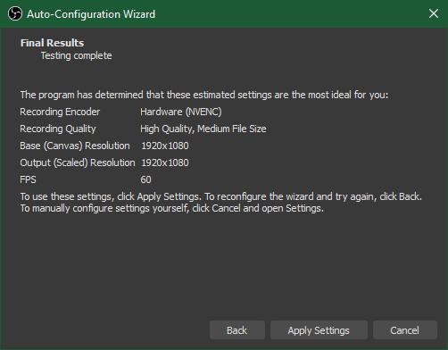 OBS Auto-Configuration Results